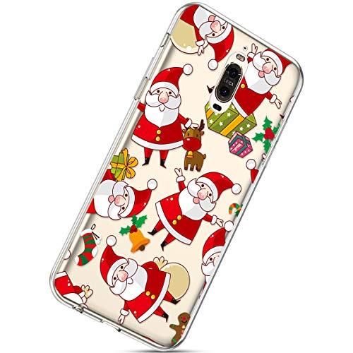 Kompatibel mit Handytasche Huawei Mate 9 Pro Crystal Clear Durchsichtige Hülle Ultradünn Transparent Handyhüllen TPU Bumper Case Silikon Hülle Cover,Weihnachtsmann