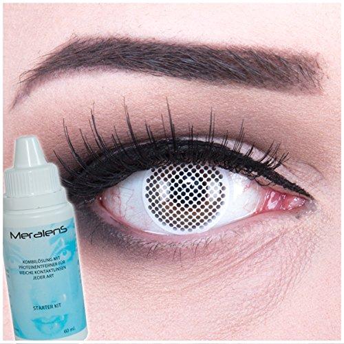 EIN PAAR Farbige Crazy Fun 14 mm 'White Screen' Kontaktlinsen mit gratis Linsenbehälter und Kombilösung. Perfekt für Fasching!