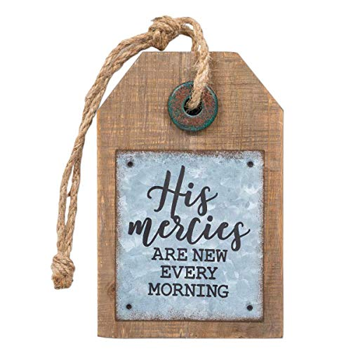 Brownlow Gifts Tag-Shaped Metal and Wood Sign Wall Décor, 5 x 8-Inches, His Mercies