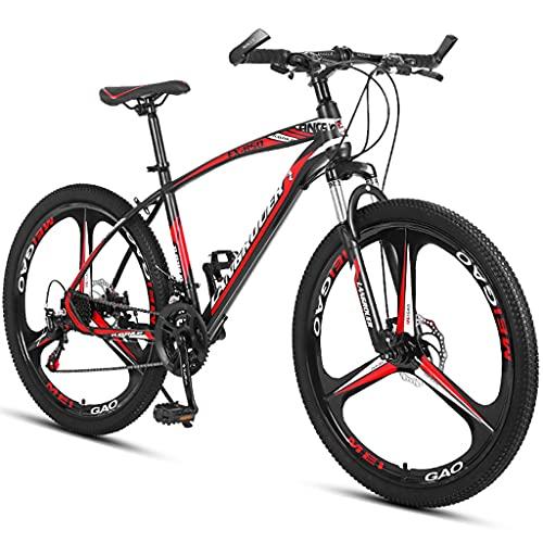 PBTRM Bicicletta MTB Bici Mountain Bike 26 Pollici, Deragliatore Posteriore 27 velocità, Freni Disco Anteriori E Posteriori, più Colori, Altezza Adatta 160-185 Cm,Rosso