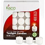 Kisco Clear Cup White Unscented Tea Light Candles - 8 Hour Long Burning Tealight Votive Candles - Bulk Candles Pack of 50 for Holiday, Wedding and Home Decoration