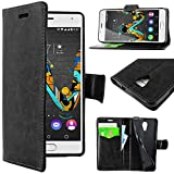 ebestStar - Coque Wiko U Feel Etui PU Cuir Housse Portefeuille Porte-Cartes Support Stand, Noir [Appareil: 143.5x71.5x8.5mm, 5.1'']