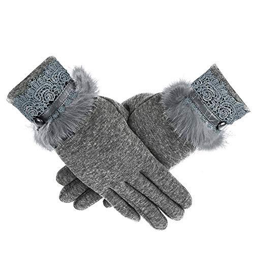 Vrouwen Lederen Winddichte Volledige Vinger Handschoenen Touch Screen Handschoen Wrist Mitten Kasjmier