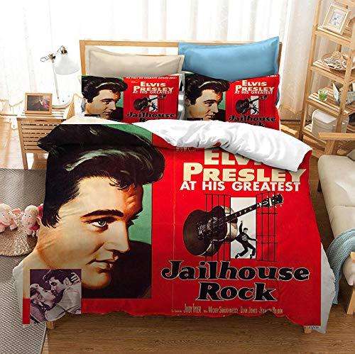 KIrSv Nuevo Johnny Hally Day Elvis Presley Impresión en 3D de Ropa de Cama y Textiles para el hogar,Fundas de edredón y Fundas de Almohada Que Gustan a los adolescentes-135x200cm(2pcs) _5