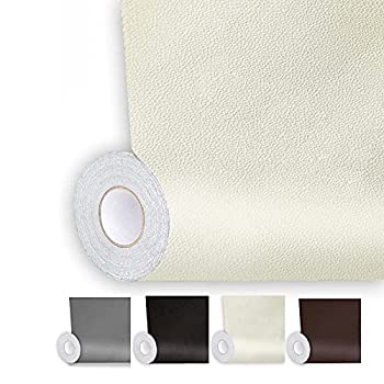 Shagoom Leather Repair Patch 17X79 inch Repair Patch Self Adhesive Waterproof DIY Large Leather Patches for Couches Furniture Kitchen Cabinets Wall  Beige 17X79 inch