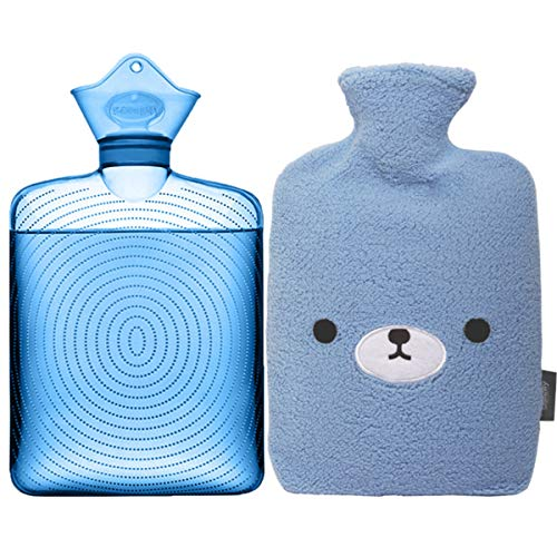 Samply Transparent Hot Water Bottle- 2 Liter Water Bag with Cute Fleece...