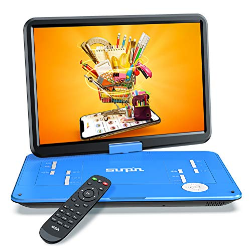 "SUNPIN 17.9"" Portable DVD Player with 15.6 inch Large HD Swivel Screen, Long Lasting Rechargeable Battery, Support USB/SD Card/AV in&Out and Multiple Disc Formats, Louder Stereo Speaker, Blue"