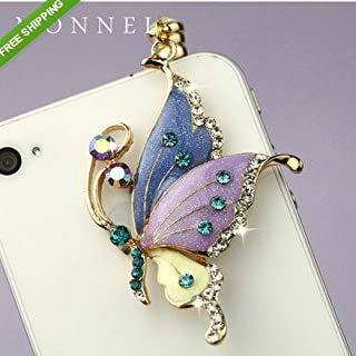 Ip242B Crystal Purple Butterfly Dust Plug-Earphone Jack Accessories for for Iphone 4 4s / Ipad / Ipod Touch / Samsung / Other 3.5mm Ear Jack