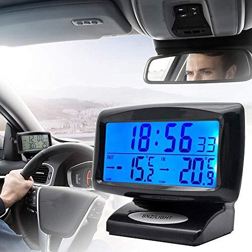 Riloer Termómetro de Reloj para Automóvil, Reloj Digital 2 en 1 y Temática con Pantalla LED para Automóvil, Interior, Exterior, Hogar