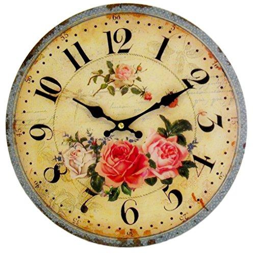 Vintage Wanduhr Rosen Postage ~ 28cm ~ Uhr für Küche Flur Wohnzimmer Garten ~ Rose Landhausstil
