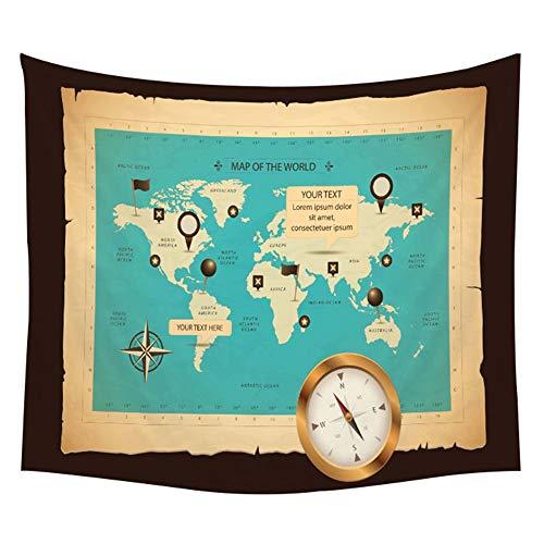 KHKJ Mapa del Mundo Tapiz Mapa de Alta definición Tela Decoración para Colgar en la Pared Mapa de Acuarela Carta Cubierta de Mesa Yoga Toalla de Playa A19 150x130cm