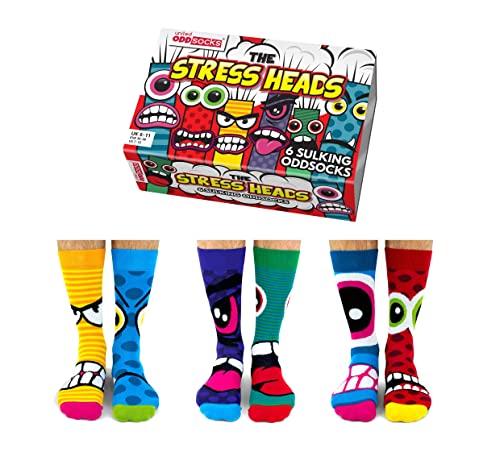 United Oddsocks Herren Socken Stress Heads, 6 Stück, EUR 39 - 46