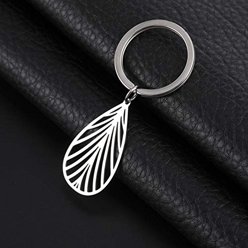 WANGY Key Chain Stainless Steel Key Ring Leaf Plant Pendant Jewelry Gift KeyholderChristmas pendant
