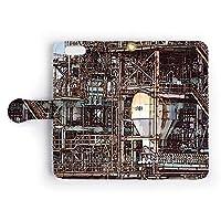iPhoneケース 手帳型 カバー 「Art Trim」 イラスト調 工場の風景/カード収納 ストラップホール付 スマホケース