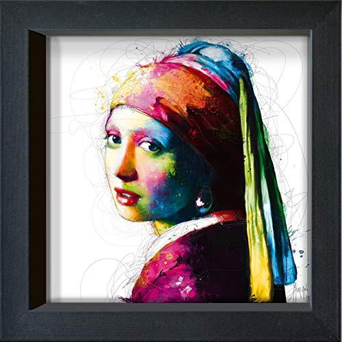 International Graphics ingelijste briefkaart - MURCIANO, Patrice - ''Vermeer Pop' - 16 x 16 cm - zwarte lijst