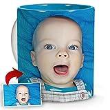 LolaPix Taza Personalizada Madre con Foto. Regalos Personalizados con Foto. Taza Personalizada de Cerámica. Taza con Color Interior Azul Claro