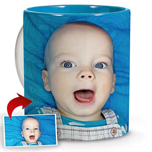 LolaPix Tazas Desayuno. Regalos Personalizados con Foto. Taza Personalizada de cerámica. Taza con Interior de Color Azul Claro.