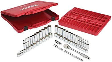 Milwaukee 932464946 3/8 cala zestaw kluczy zapadkowych metryczne i imperialne, 56 sztuk, czerwony