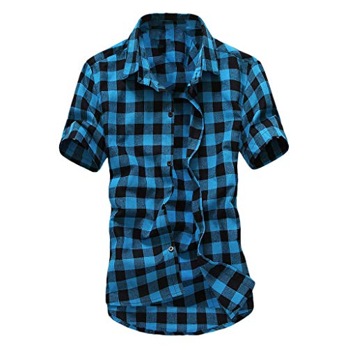 WEUIE Mens Button-Down Shirts, Vintage Slim Fit Plaid Short Sleeve Work Casual Shirt Tops Blouse Sky Blue