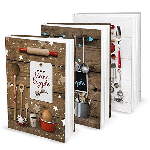 Cadeauset voor Kerstmis, verjaardag, bruiloft, 3 x DIN A5 receptenboek, kookboek, bakboek om zelf te schrijven, mijn recepten, bakrecepten, keuken, eten gezonde voeding