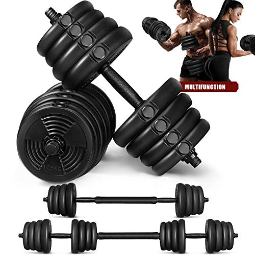 MOVTOTOP Adjustable Free Weights Barbell Dumbbells Set - 5/15/20/33/66 lbs 2 in 1 Barbell Weight Set with Connecting Rod and Non-Slip Handle for Men and Women Home Exercise & Fitness