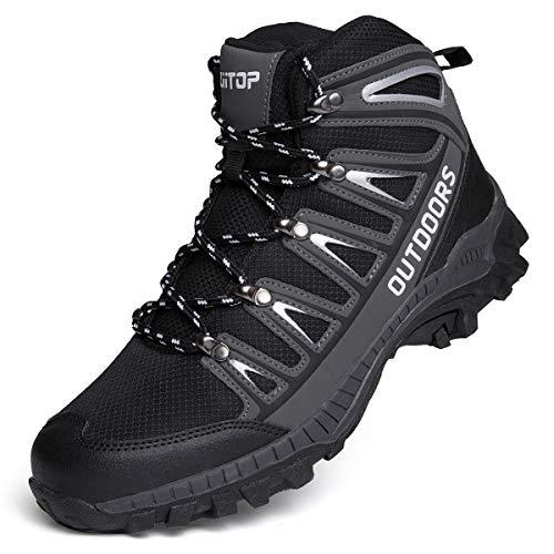 Botas de Montaña para Hombre, Zapatillas de Senderismo Antideslizante Zapatos de Deporte Exterior Calzado de Alta Caña Trekking Sneakers (Negro, 46)