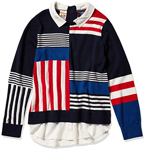 Tommy Hilfiger Damen ADP W Julia Stripe Mix Twofer Pullover, Deep Blue Heather Hc878 Multi, Mittel