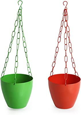 ExclusiveLane The Chained Frustums Metal Hanging Planter Pots for Indoor Plants with Chain (Iron, Set of 2) - Stylish Hanging Planters for Balcony Decorative Terrace Hanging Pots Plant Containers