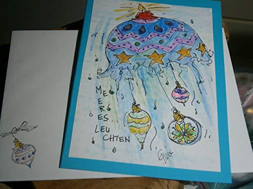 Weihnachtskarte handgemalt schrille Qualle Meeresleuchten ausgefallene Karte