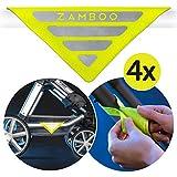 Zamboo Kinderwagen Reflektor Set Universal - 4 Stück Sicherheits-Reflektoren mit Klettverschluss, Ideal für Buggy, Sportwagen, Fahrrad, Anhänger und mehr - Neon Gelb
