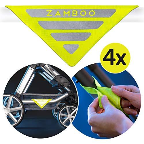 Zamboo Kinderwagen Reflektor Set Universal - 4 Stück Sicherheits-Reflektoren mit Klettverschluss, Ideal für Buggy, Sportwagen, Anhänger und mehr - Neon Gelb
