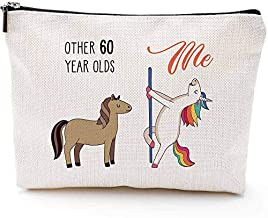 60th Birthday Gifts for Women - 1960 Birthday Gifts for Women, 60 Years Old Birthday Gifts Makeup Bag for Mom, Wife, Friend, Sister, Her, Colleague, Coworker(Makeup bag-60th Unicorn)