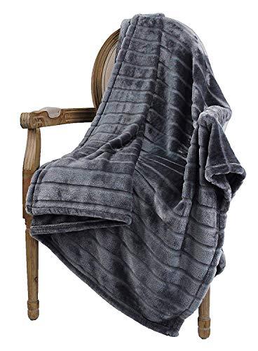 Bertte Throw Blanket Super Soft Cozy Warm Blanket 330 GSM Lightweight Luxury Fleece Blanket for Bed Couch 50quotx 60quot Dark Grey