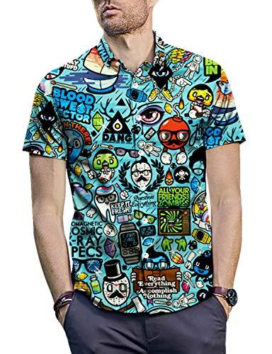 PIZOFF Men's 3D Digital Print Button Down Short Sleeve Dress Shirt Y1936-05-M