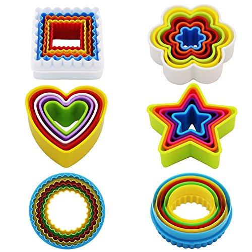 Kaishan - Set di 25 formine per biscotti, diversi motivi: a forma di stella, fiore, cuore, quadrate, rotonde, senza bisfenolo A, colorate