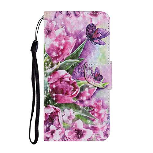 Miagon für Huawei Y5 2019 Hülle,Bunt Muster Handytasche Flip Case PU Leder Cover Magnet Schutzhülle Ständer mit Kartenfach Magnetisch,Rose Blume