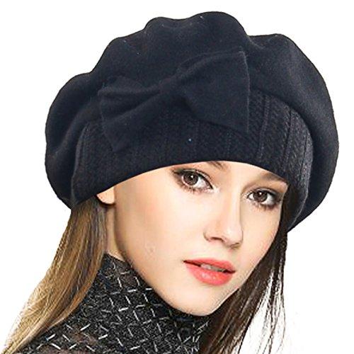 VECRY Frauen Barette 100% Wolle Baskenmütze Kleid Mütze Wintermütze (Schwarz)
