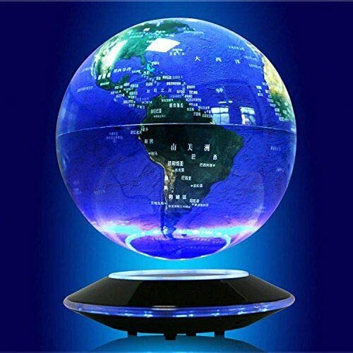 6'' Colorful Magnetic Levitation Floating Globe, Earth Rotating World Map Anti Gravity Geographic Globes for LED World Map Night Light Home Office Decor