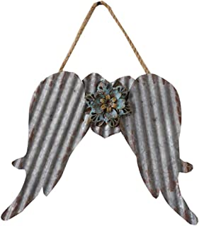 Corrugated Metal Angel Wings with Flower Detail and Rope Hanger