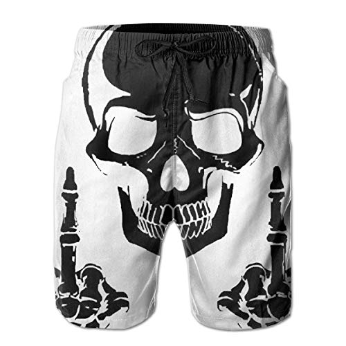 shizh Herren Badehose Totenkopf mit Zwei Mittelfingern Schwarz Casual Sportswear Quick Dry Beach Shorts für Jungen Sommer