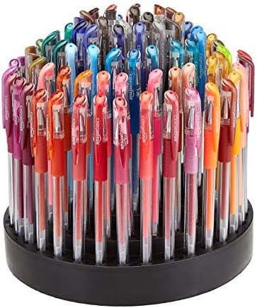 Amazon Basics Premium Multi Color Gel Pen Set with Rotating Artist Stand 100 Count product image