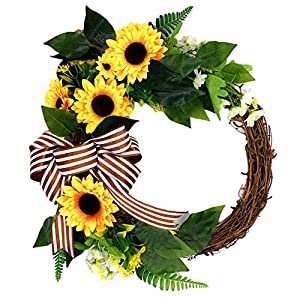 BestRoyal Artificial Sunflowers Summer Wreath, Silk Green Leaves Daisy Flowers Everyday Wreath, Artificial Spring Garland Wreath for Front Door Wall Wedding Party Decor, 16 Inch