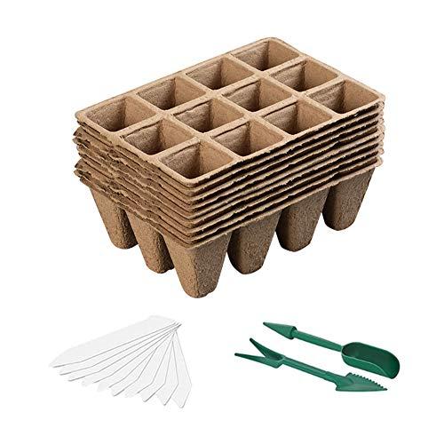 Mengxin 10 Pcs Macetas Biodegradables y 100 Pcs Etiquetas Plantas Plastico Macetas y Semilleros de Germinación para Jardín Plántulas y Trasplantes (Paquete de 10)