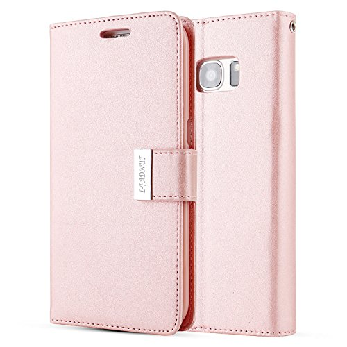 for Samsung Galaxy S6 Edge Plus,L-FADNUT Luxury Flip PU Leather Case,Dual 5 Card Slots Metal Magnetic Closure with Stand Wallet Card Holder Case Cover for Samsung Galaxy S6 Edge Plus Rose Gold