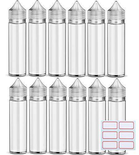 12 x 60 ml Flacons Fioles Bouteille Vide e liquide Bouchon Conique Unicorn + étiquettes