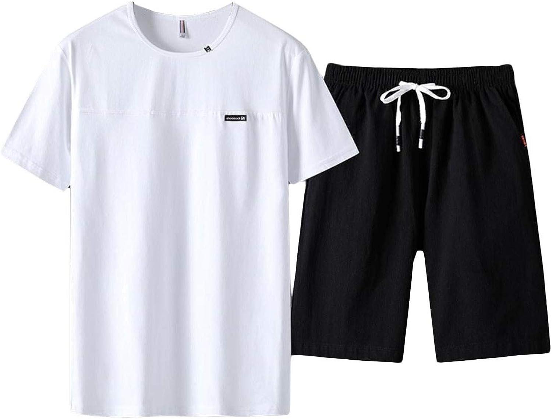 Energy Men's Elastic Waist Oversized Drawstring PlusSize Shirt Top Shorts Pants Set