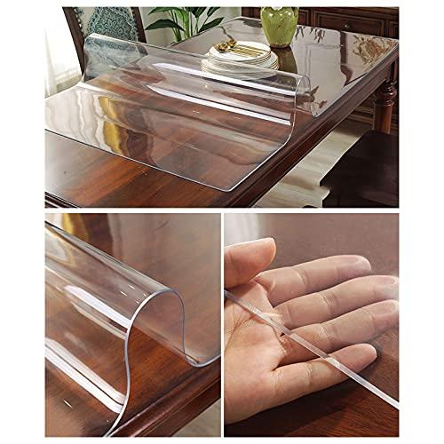 Tischdecke Transparenter Kristall,abwischbare Rechteckige Tischtuch,Kunststoff-schutzfolie,2mm Dicke wasserdichte Tischdecke,für Außen,küche,esszimmer,leicht Zu...