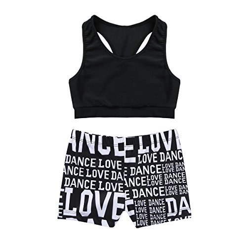 MSemis Girls' Kids 2-Piece Active Set Dance Sport Outfits Racer Back Top and Booty Short Gymnastics Dancing Clothes Black 10-12