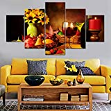 Art Work for Home Walls 5 Panel Red Candle Paintings HD Prints Colorful Fruit and Wind Wall Art on...