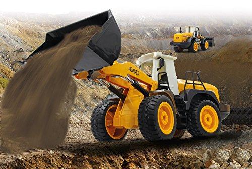RC Auto kaufen Baufahrzeug Bild 2: Jamara 410005 - Radlader 440 1:20 2,4G - Schaufel heben / senken / abkippen, realistischer Motorsound (abschaltbar), programmierbare Funktionen, Blinker, Autoabschaltfunktion, 2 Radantrieb*